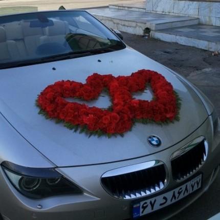 کرایه ماشین عروس در تهران با گل قلبی
